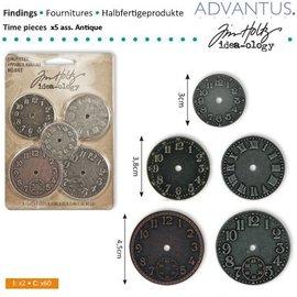 Embellishments / Verzierungen 5 Antikke ure, forskellige størrelse - tilbage på lager!