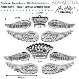 Embellishments / Verzierungen ailes métalliques antiques + couronne