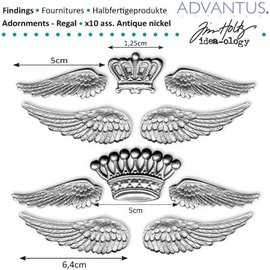 Embellishments / Verzierungen alas de metal antiguos + corona