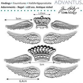 Embellishments / Verzierungen Gamle metall vinger + krone
