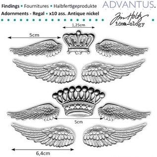 Embellishments / Verzierungen Oude metalen vleugels + kroon