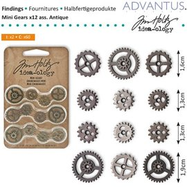 Embellishments / Verzierungen Mini Zahnräderchen, 12 pièces, antiques - seul disponible!