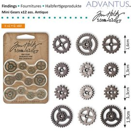 Embellishments / Verzierungen Mini Zahnräderchen, 12 stykker, antikt - eneste tilgængelige!
