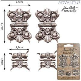 Embellishments / Verzierungen 4 metales bisagras, antigüedad