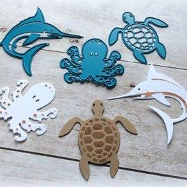 Joy!Crafts / Jeanine´s Art, Hobby Solutions Dies /  Y el estampado de la plantilla, calamar, tortuga, tiburón