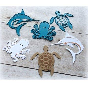Joy!Crafts / Jeanine´s Art, Hobby Solutions Dies /  Stanz- und Prägeschablone, Squid, Schildkröte, Hai- LETZEN VORRÄTIG!