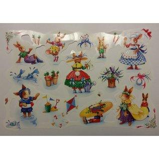 Bilder, 3D Bilder und ausgestanzte Teile usw... Bilderbogen, Glanzbilder, Thema: niedliche Hase