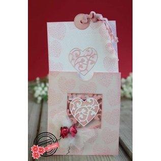 Joy!Crafts / Jeanine´s Art, Hobby Solutions Dies /  Ponsen en embossing stencil: vierkant met hart