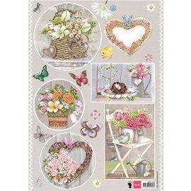 Bilder, 3D Bilder und ausgestanzte Teile usw... A4 Bilderbogen, Thema: country Style, Herzen