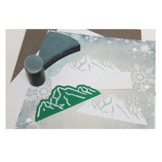 Joy!Crafts / Jeanine´s Art, Hobby Solutions Dies /  Ponsen en embossing sjabloon: ski / berglandschap