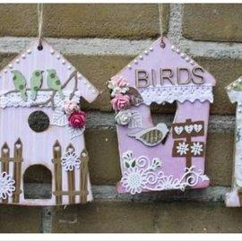 Objekten zum Dekorieren / objects for decorating MDF, casa del pájaro decorativo, 4 piezas