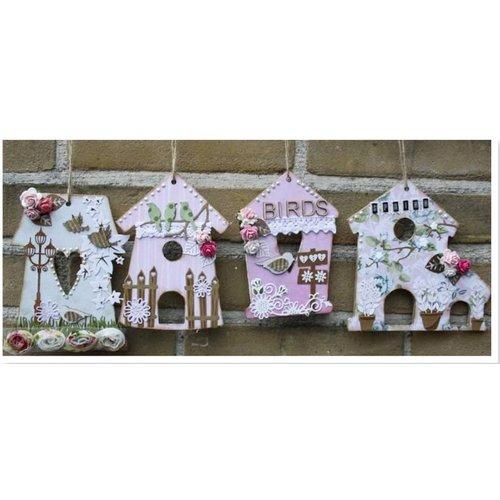 Objekten zum Dekorieren / objects for decorating MDF, decoratieve vogel huis, 4 stuks
