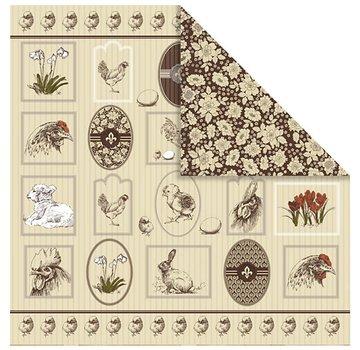Designer Papier Scrapbooking: 30,5 x 30,5 cm Papier 1 Designer Bow, 30,5 x 30,5 cm, med smukke påske motiver