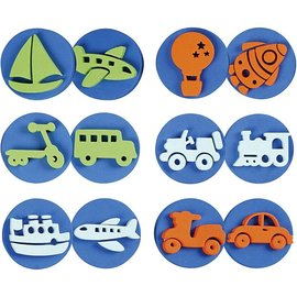 Kinder Bastelsets / Kids Craft Kits Sello de goma espuma: Transporte, un total de 12 diseños