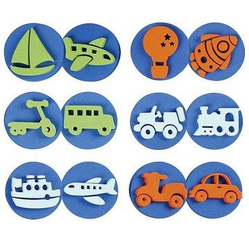 Kinder Bastelsets / Kids Craft Kits Stempel van schuimrubber: transport, een totaal van 12 ontwerpen