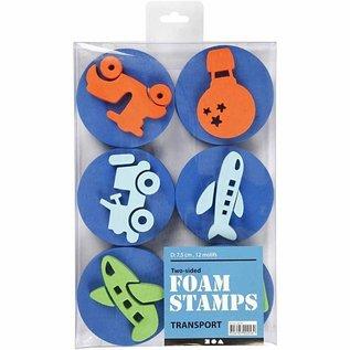 Kinder Bastelsets / Kids Craft Kits Stamp made of foam rubber: Transport, a total of 12 designs