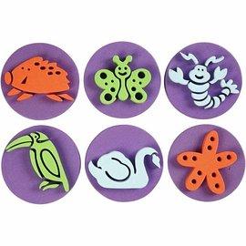 Kinder Bastelsets / Kids Craft Kits Timbre en caoutchouc mousse: Zoo, un total de 12 modèles