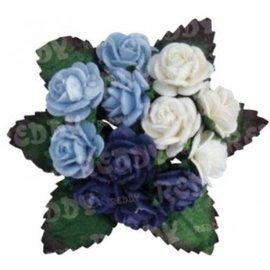 Embellishments / Verzierungen Mini-florets, h'blau, d'blue, white