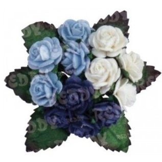 Embellishments / Verzierungen Mini-roosjes, h'blau, d'blauw, wit