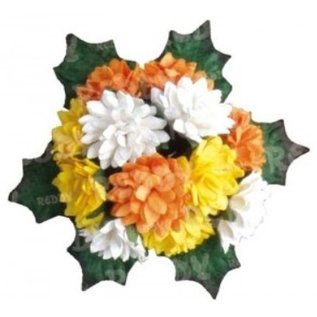 Embellishments / Verzierungen Bund Mini Crysanthemen met bladeren: geel, oranje en wit