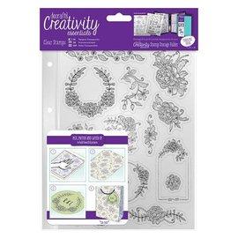 Stempel / Stamp: Transparent Gennemsigtige frimærker, smukke blomstermotiver og slyngtråde ramme
