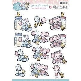 Bilder, 3D Bilder und ausgestanzte Teile usw... A4 Stanzbogen: Thema Baby