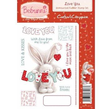 Crafters Company: BeBunni Gummi stempel, BeBunni emne: Jeg elsker dig