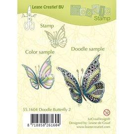 Leane Creatief - Lea'bilities und By Lene sello transparente: Mariposa de Zentangle