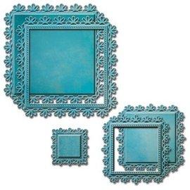 Spellbinders und Rayher Stempelen en embossing stencil, 5 Spitzedeckchen, Vierkant