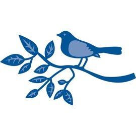 Marianne Design Stempelen en embossing stencil, vogel op een tak