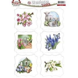 Bilder, 3D Bilder und ausgestanzte Teile usw... Stanzbogen mit Frühlingsmotive, Labels