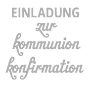 Spellbinders und Rayher Stanzschablone Set: Text Konfirmation/Kommunion
