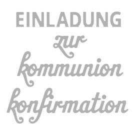 Spellbinders und Rayher Estampación kit de plantilla: Confirmación Texto / Comunión