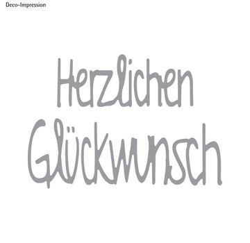 Spellbinders und Rayher Stanzschablone Set: Text Herzlichen Glückwunsch