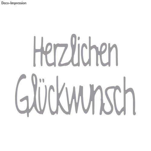 Spellbinders und Rayher Stempelen template kit: Tekst Gefeliciteerd