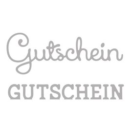 Spellbinders und Rayher Stempelen template kit: Tekst voucher