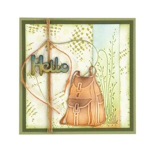 Leane Creatief - Lea'bilities und By Lene Stamping and Embossing stencil, backpack and hiking boots