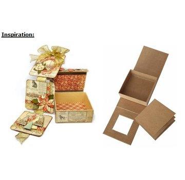 Objekten zum Dekorieren / objects for decorating Cartapesta scatola coperchio ribaltabile, 13,3 x 13,3 cm x 5,4 cm cm, parte interna sciolto