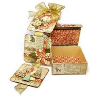 Objekten zum Dekorieren / objects for decorating Papier mache scharnierend deksel doos, 13,3 x 13,3 cm x 5,4 cm cm, binnenste deel los