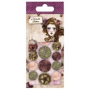 Embellishments / Verzierungen Santoro Willow, ontwerper knopen uit hout