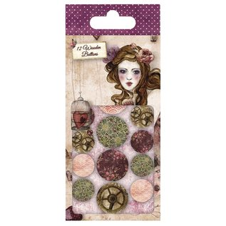 Embellishments / Verzierungen Santoro Willow, pulsanti di design di legno