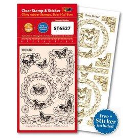 Stempel / Stamp: Transparent Transparante stempels, Butterflies + past op een Ziersticker