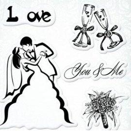 """Stempel / Stamp: Transparent Sellos transparentes establecidos, la boda """"You & Me"""""""