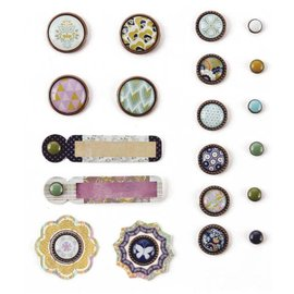 Embellishments / Verzierungen BasicGrey, Plumeria Collection, Mixed Brads