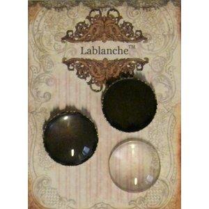 Embellishments / Verzierungen 2 glazen cabochons met frame