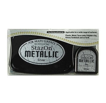FARBE / STEMPELKISSEN StaZon stempel blæk, metallisk sølv