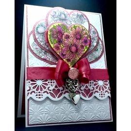 CREATIVE EXPRESSIONS und COUTURE CREATIONS Sello de goma, Corazón de Flores