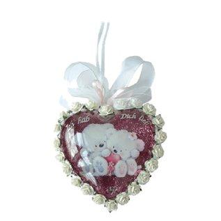 Embellishments / Verzierungen 2 acrylic glass medallions, heart 8cm, 2 parts