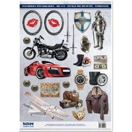 Embellishments / Verzierungen A4 feuilles coupées, Sujet: conceptions Hommes