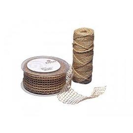 Embellishments / Verzierungen Jute mesh belt, nature, 50 mm, sold by the meter